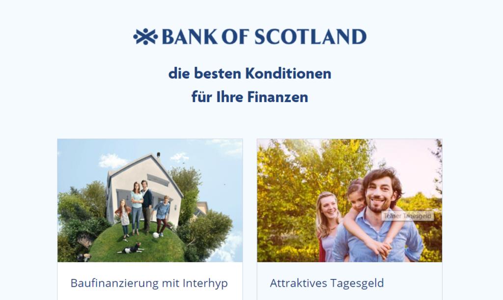 Die Bank of Scotland wirbt mit guten Konditionen für Ihre Finanzen