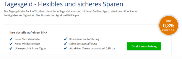 Bank of Scotland Tagesgeld-Angebot