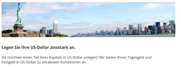 Tagesgeldkonten können bei der IKB auch in US-Dollar geführt werden