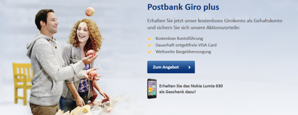 Für das Postbank Giro plus erhalten Kunden ein Smartphone als kostenfreie Prämie