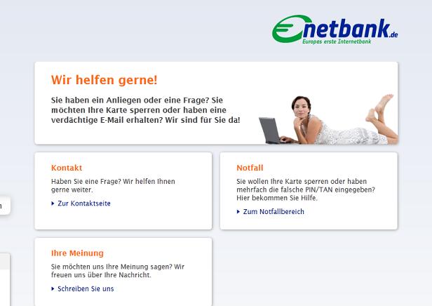 Es gibt verschiedene Möglichkeiten mit dem Support von der Netbank Kontakt aufzunehmen