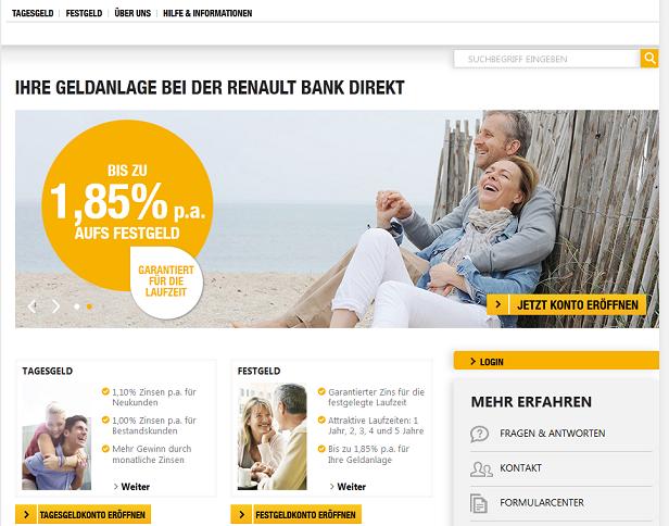 Auf der Webseite sind generelle Informationen über die Renault Bank zu finden