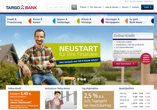 Das umfangreiche Angebot der Targobank findet man direkt auf der Webseite