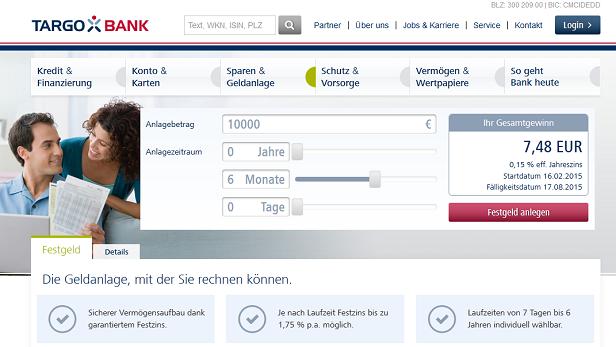 Direkt auf der Webseite kann der erwartete Zinsgewinn berechnet werden