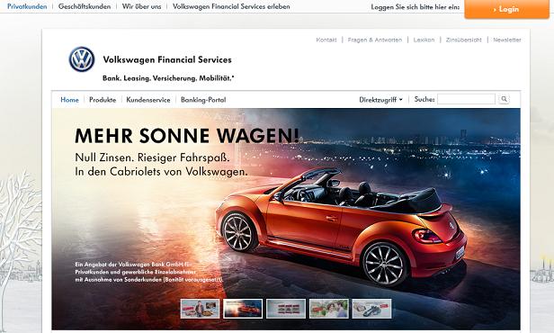 Die umfangreiche Webseite der Volkswagenbank bietet weiterführende Informationen