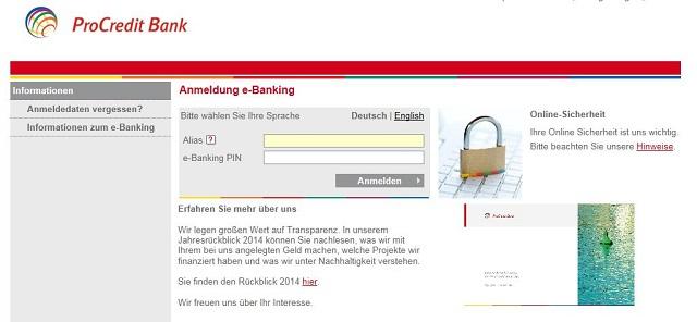 Der Log-In zum Online-Banking