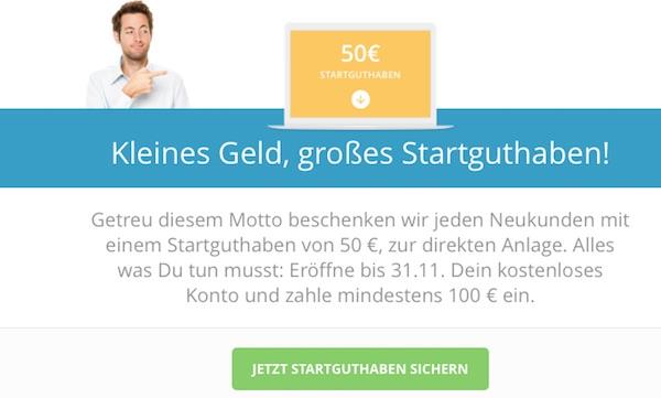 50 Euro Startguthaben für Neukunden