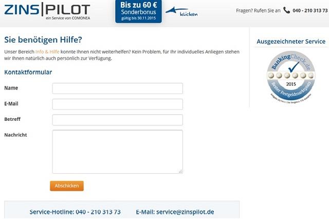 Erreichbarkeit des Zinspilot Kundenservice