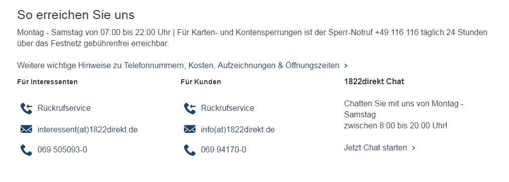 1822direkt Kundenservice