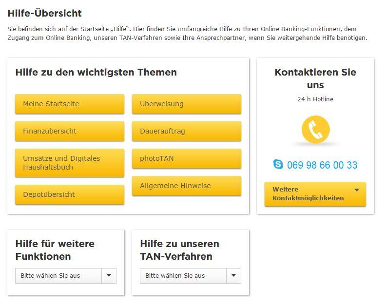 Commerzbank Hilfe Übersicht