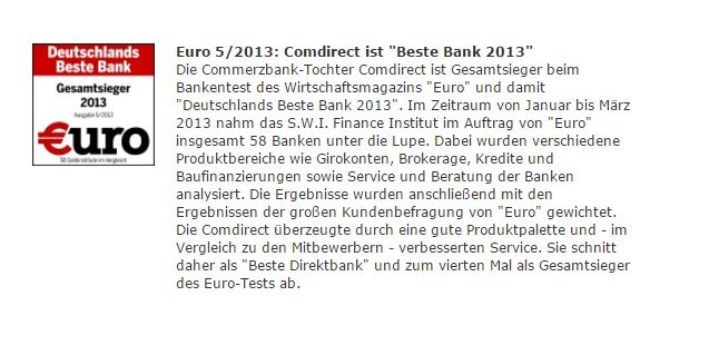 Auszeichnung der Commerzbank als beste Bank 2013