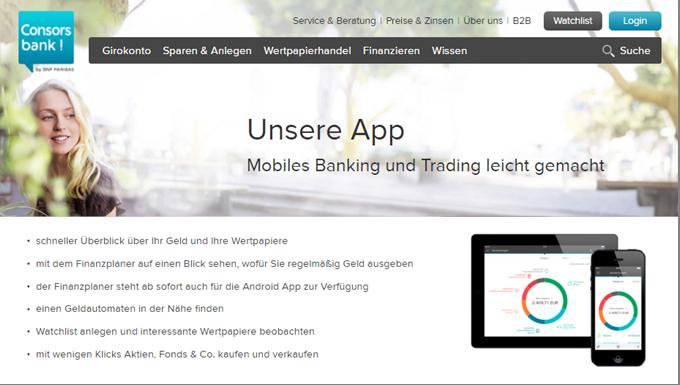 Mit der Consorsbank App ist mobiles Banking und Trading möglich