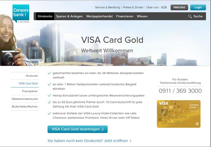 Die VISA Card Gold von der Consorsbank