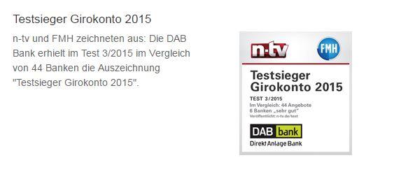DAB Bank Girokonto Auszeichnung