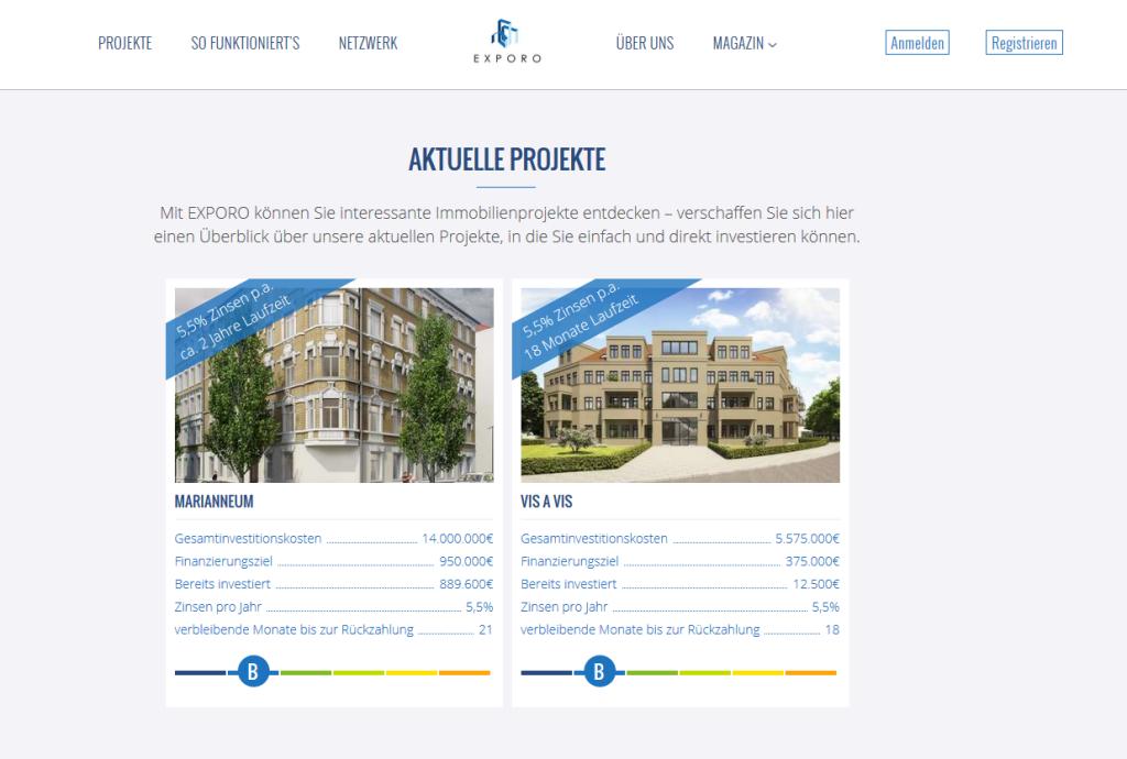 Die verfügbaren Projekte bei Exporo