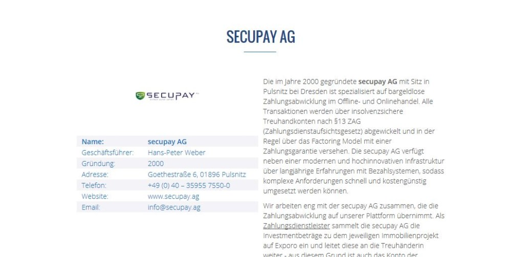 Die Secupay AG als Zahlungsabwickler bei Exporo