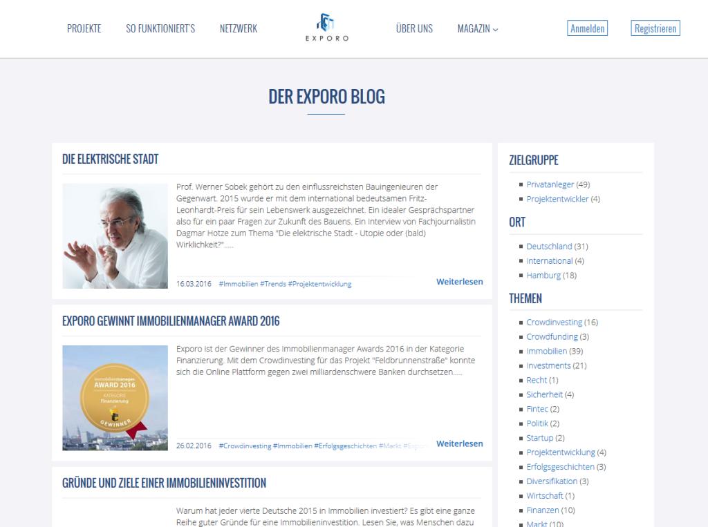 Der Exporo Blog im Überblick