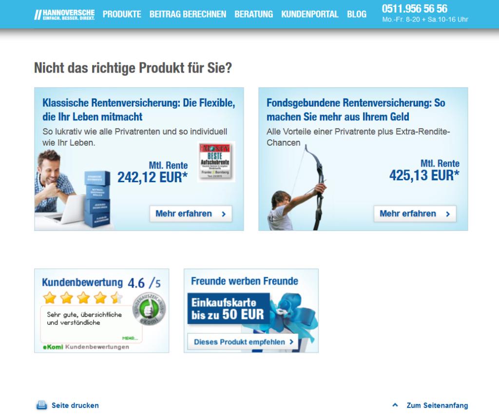 Neben der klassischen Rürup-Rente sind noch weitere Renten bei der Hannoverschen verfügbar