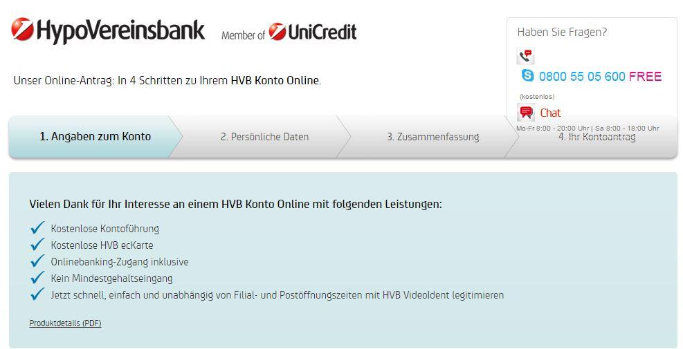 HypoVereinsbank Konto-Eröffnung