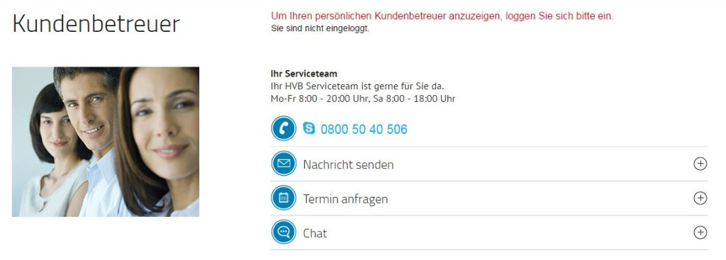 Service bei der HypoVereinsbank
