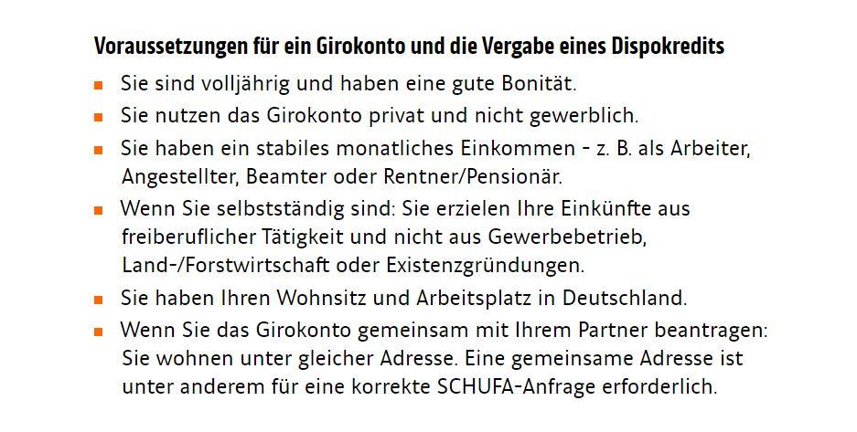 Die Voraussetzungen vom ING-DiBa Girokonto