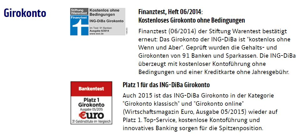 ING-DiBa Girokonto Auszeichnungen