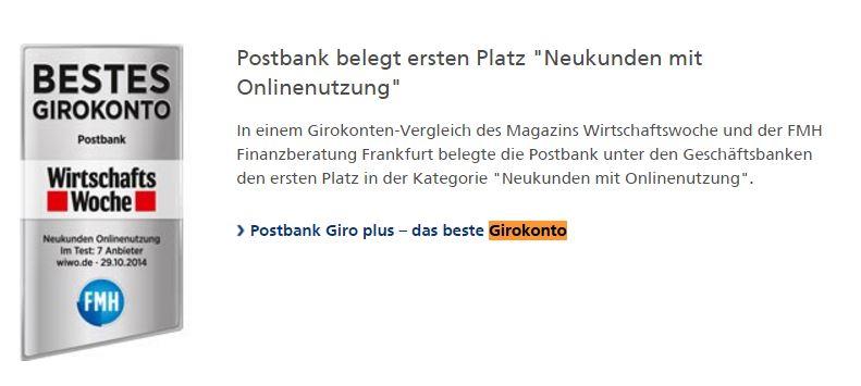Postbank Auszeichnung bestes Girokonto Beim renommierten ibi Website Rating belegte die Postbank