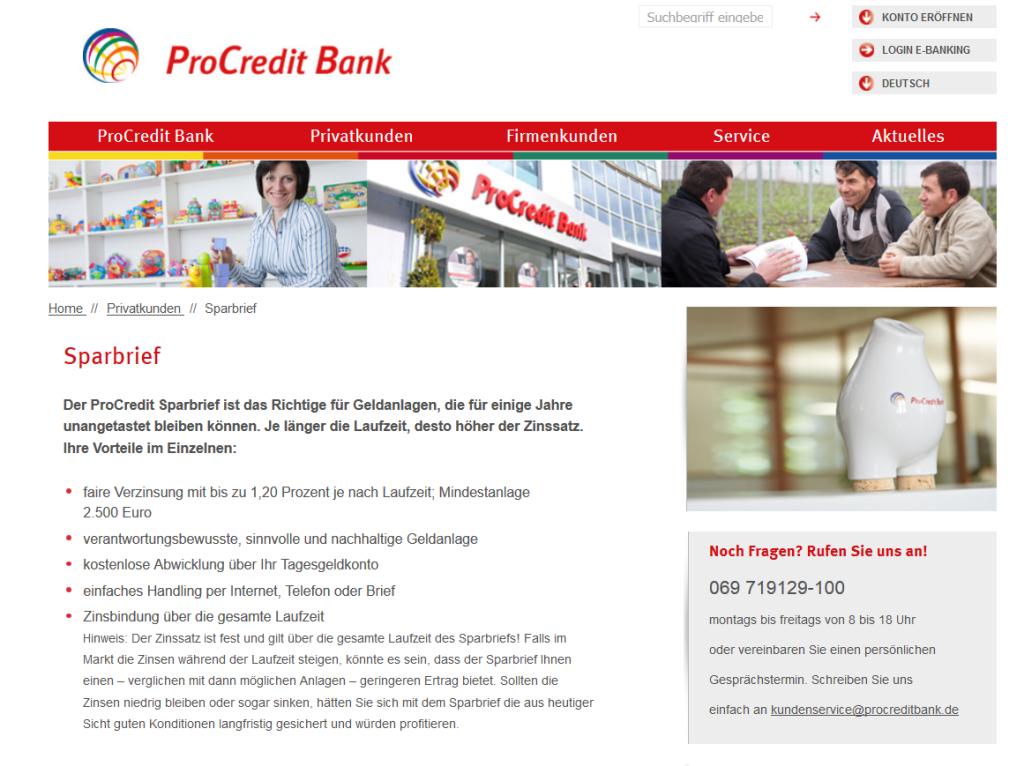ProCredit Bank Sparbrief Erfahrungen im Überblick