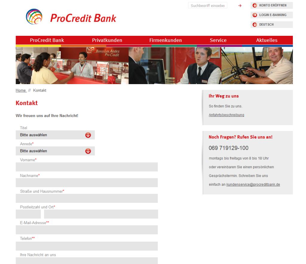 Der deutschsprachige Kundensupport der ProCredit Bank im Überblick
