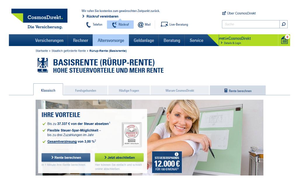 Rürup Rente Vergleich: Die Vorteile der Rürup-Rente von CosmosDirekt
