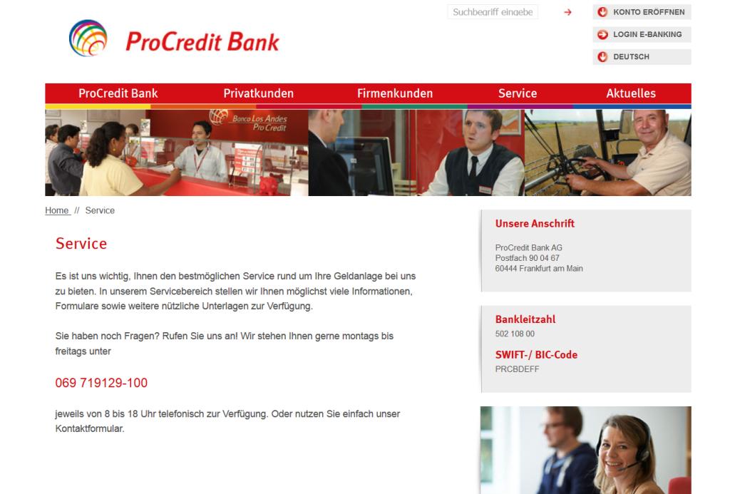 Der Kundensupport der ProCredit Bank im Überblick
