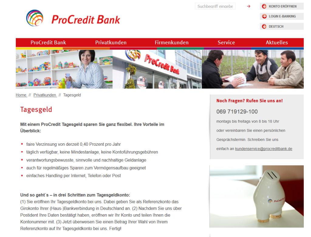 Das Tagesgeldkonto der deutschen ProCredit Bank im Überblick
