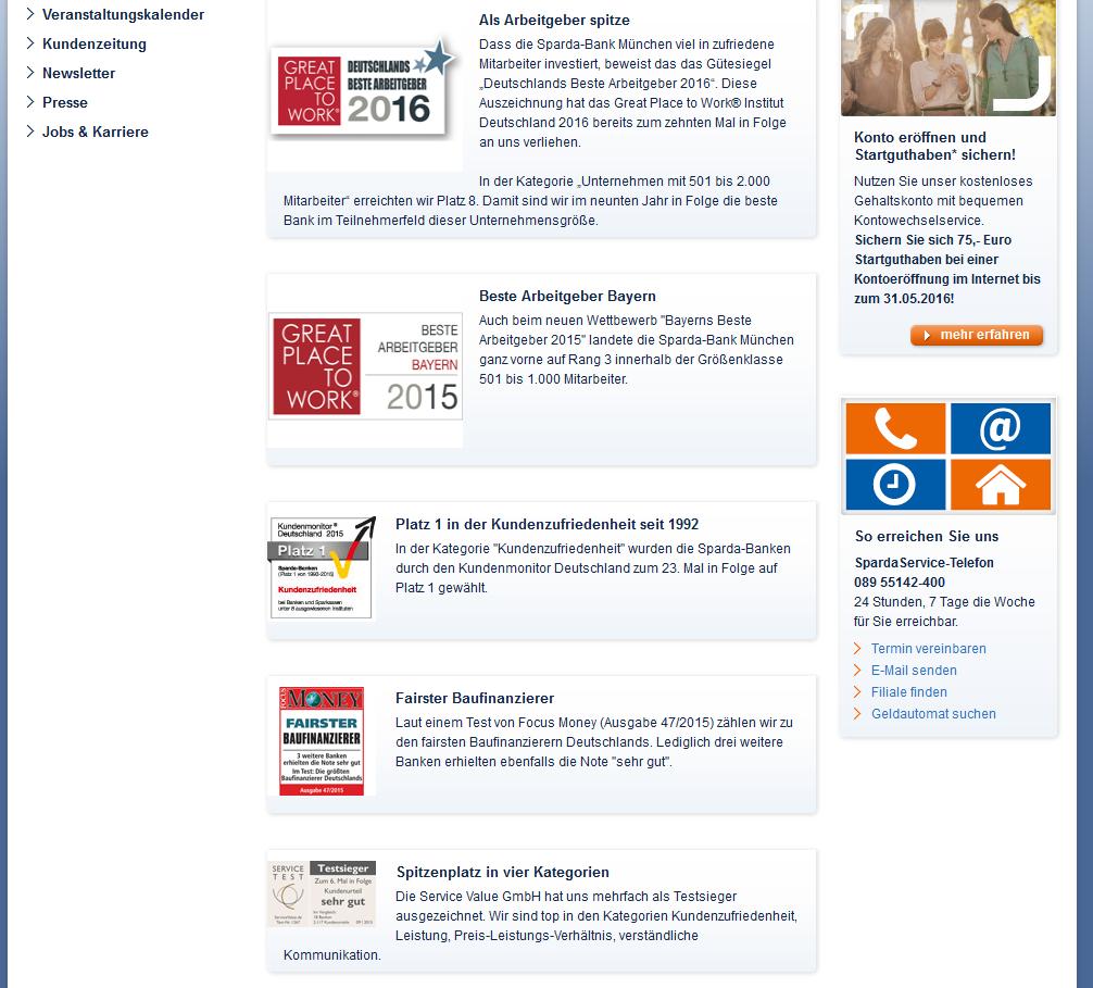 Die aktuellsten Auszeichnungen der Sparda-Bank München im Überblick