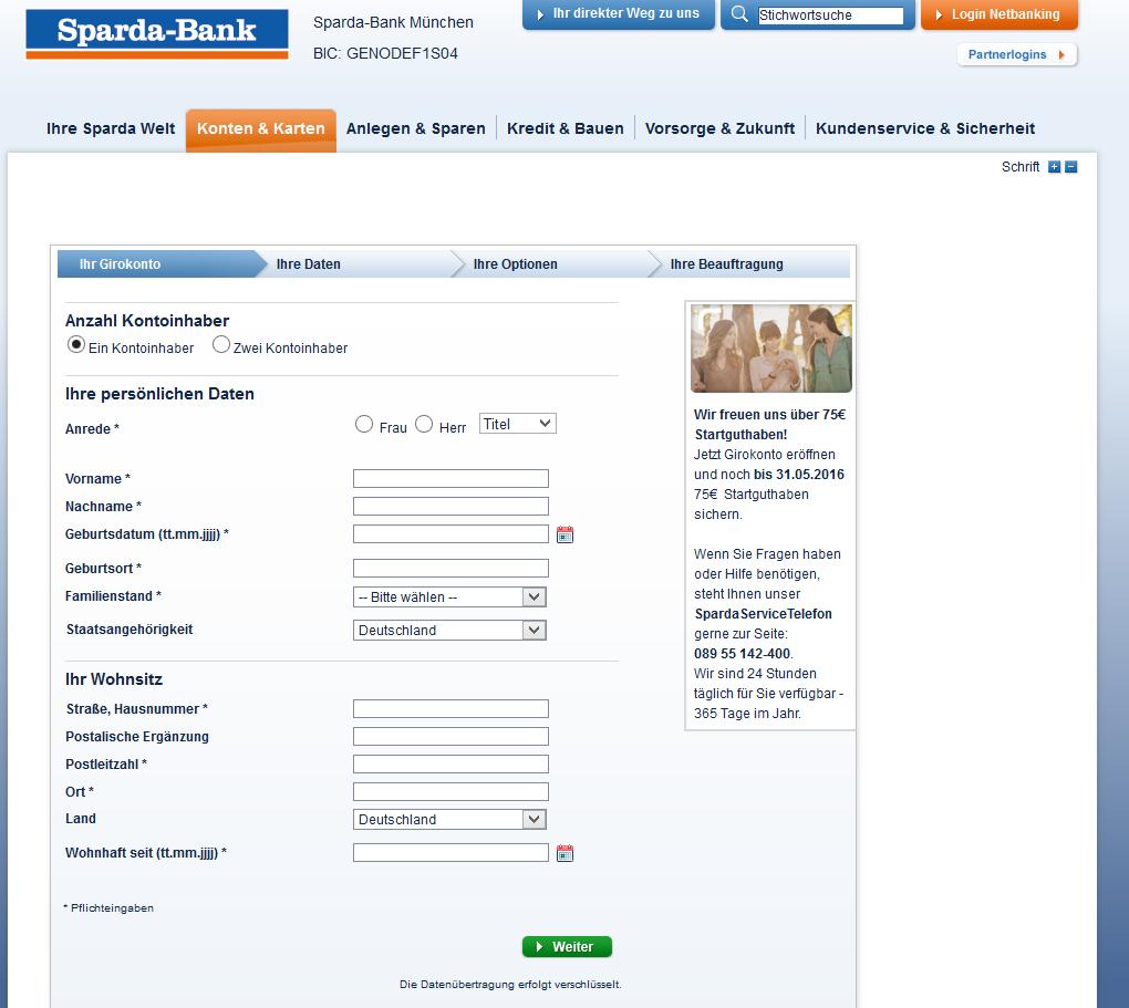 Das Online-Eröffnungsformular der Sparda-Bank München