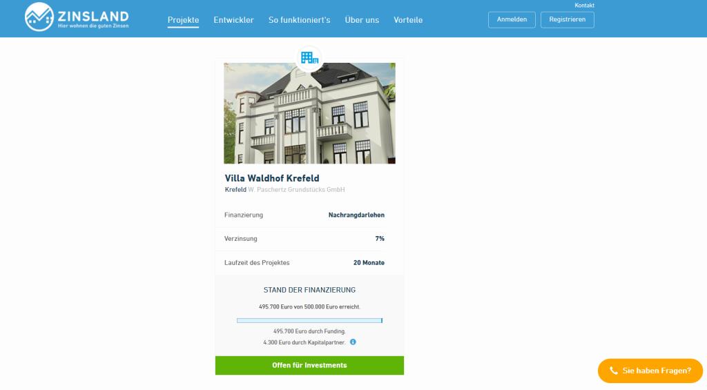 Das verfügbare Projekt bei Zinsland