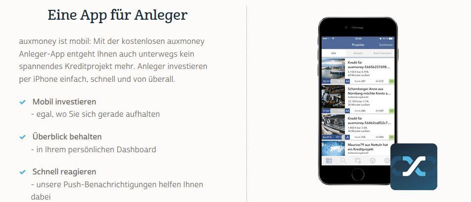 Überblick der Anleger-App für iOS