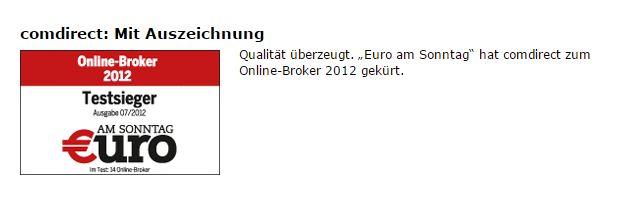 comdirect Auszeichnung als bester Online-Broker
