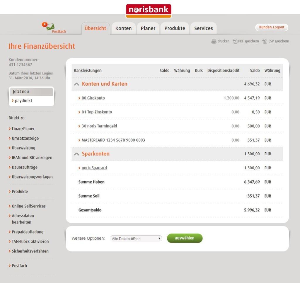 norisbank Girokonto Demo