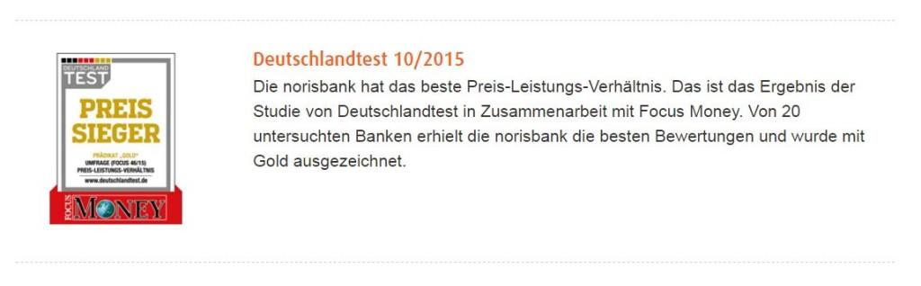 norisbank Girokonto Auszeichnung Preissieger