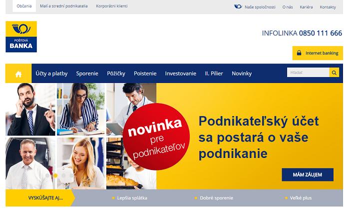 Postova Bank Webseite