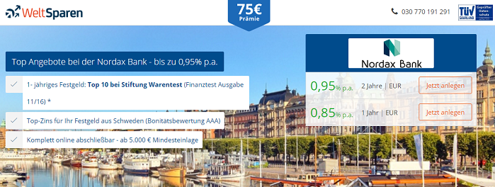 Nordax Bank Festgeld über weltsparen.de
