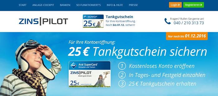 Zinspilot 25€ Tankgutschein