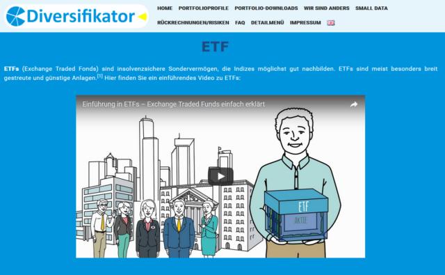 Informationsvideo zu ETFs auf der Website von Diversifikator
