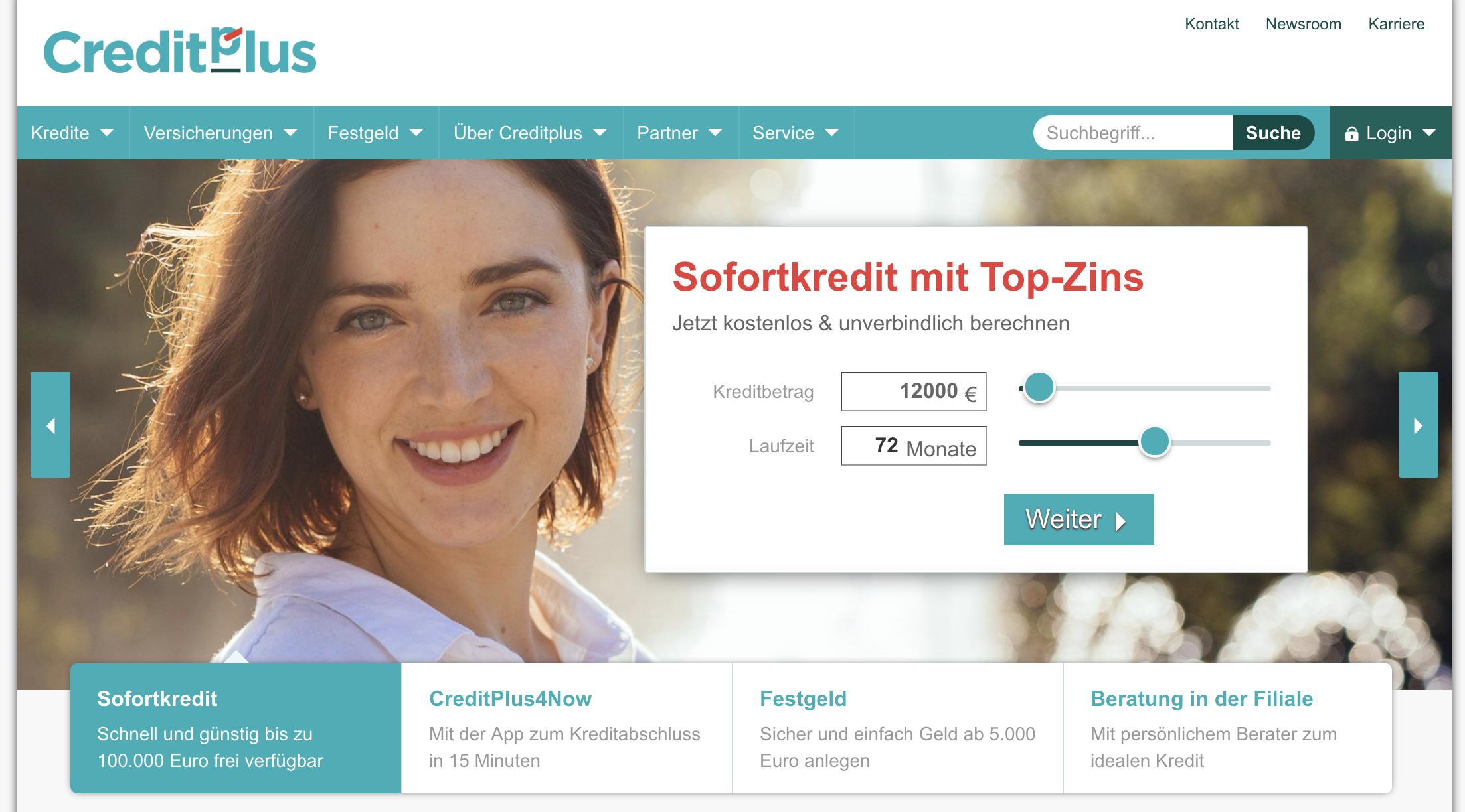 CreditPlus Bank Webseite