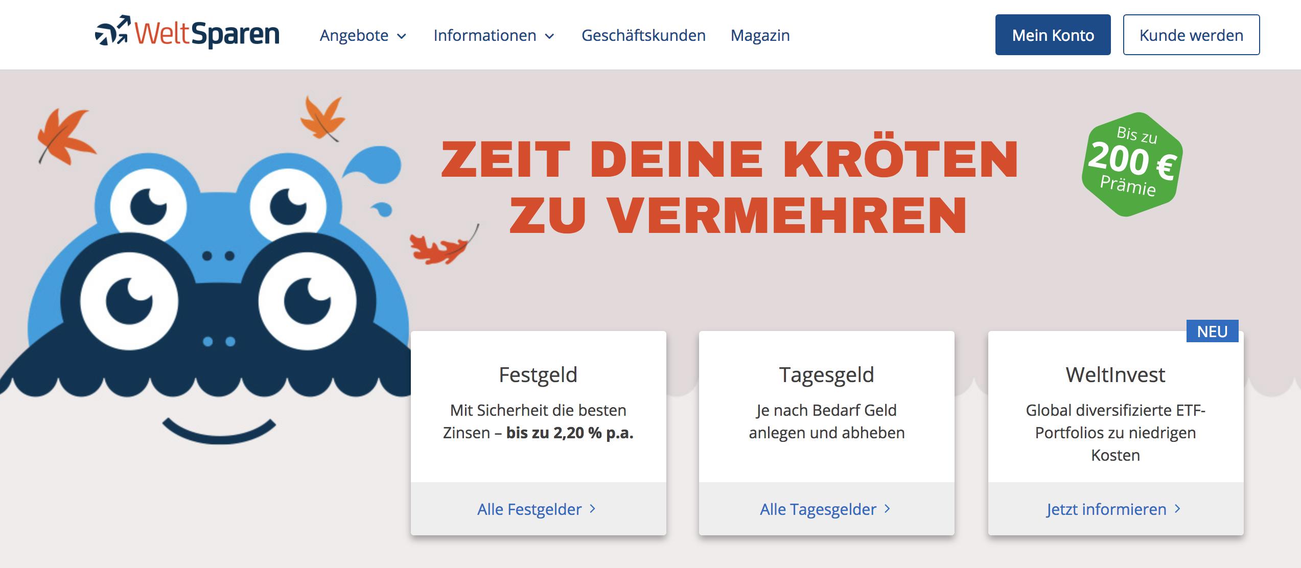 WeltSparen Webseite