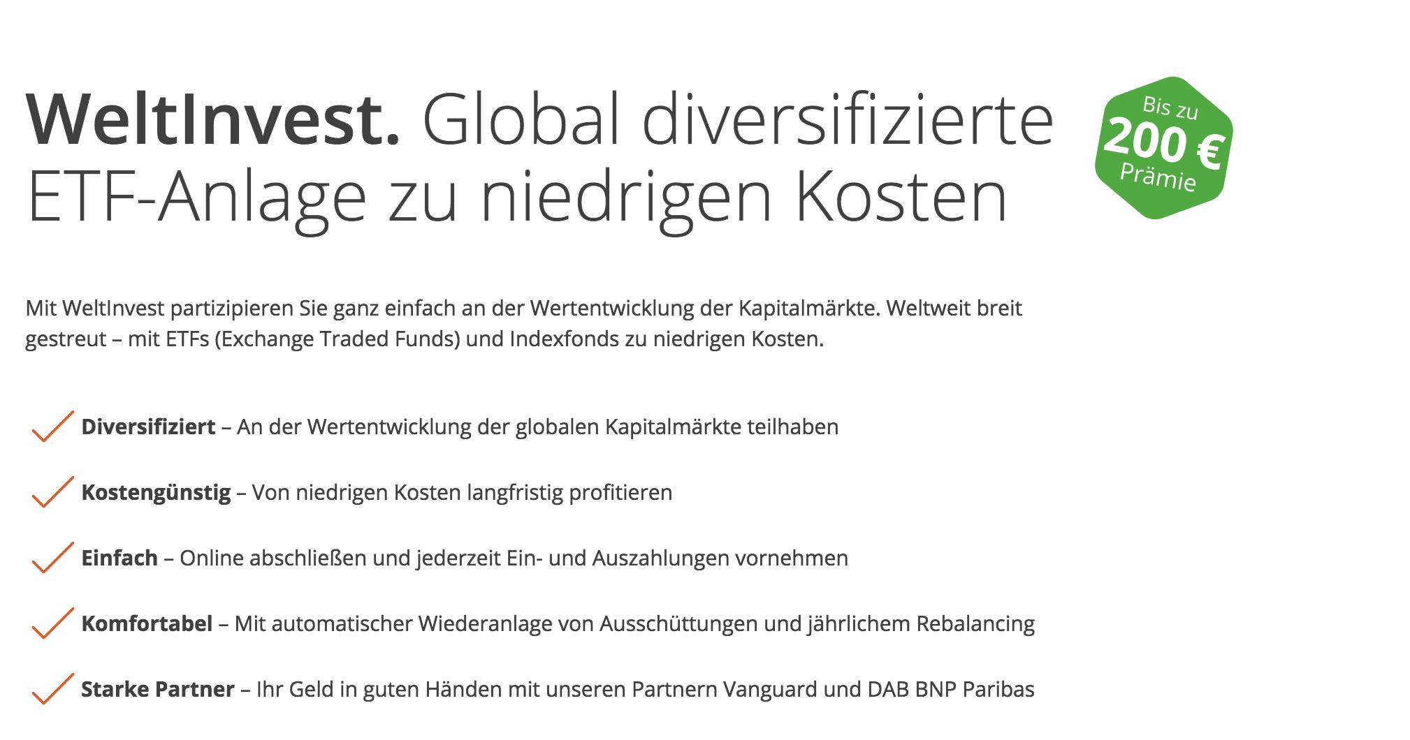 WeltInvest ETF-Anlage