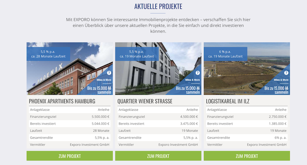 Exporo Projekte