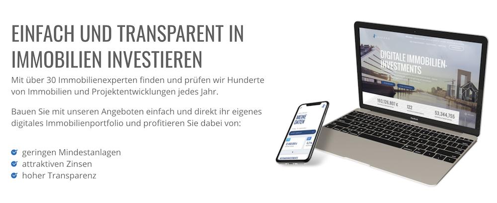 Auch auf mobilen Endgeräten können Exporo Kunden aktuelle Projekte einsehen