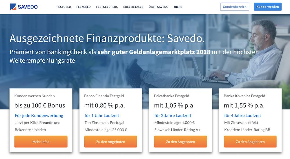 Savedo Webseite