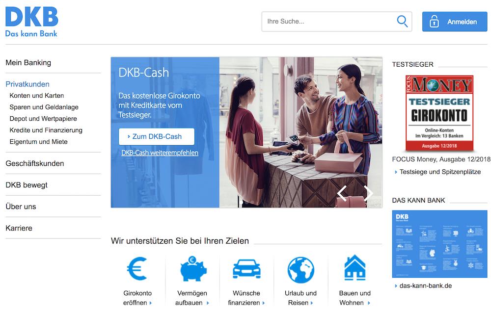 DKB Cash Webseite